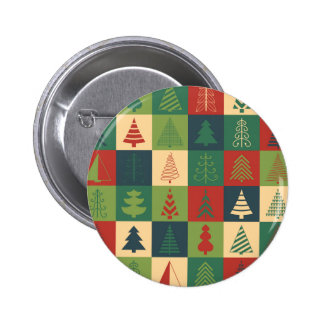 Decorative Christmas Trees Pattern Pinback Buttons