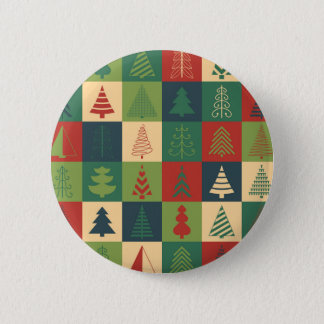 Decorative Christmas Trees Pattern Pinback Button