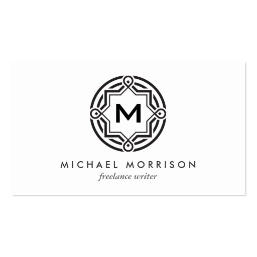 DECORATIVE CIRCLE LOGO with YOUR INITIAL B & W Business Card Template