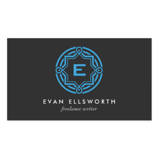 DECORATIVE CIRCLE LOGO with YOUR INITIAL Blue Gray Business Card