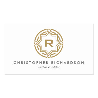DECORATIVE CIRCLE LOGO with YOUR INITIAL Gold Business Card
