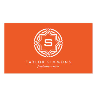 DECORATIVE CIRCLE LOGO with YOUR INITIAL Orange 2 Double-Sided Standard Business Cards (Pack Of 100)