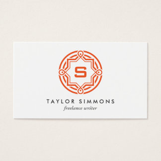 DECORATIVE CIRCLE LOGO with YOUR INITIAL Orange Business Card
