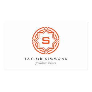 DECORATIVE CIRCLE LOGO with YOUR INITIAL Orange Double-Sided Standard Business Cards (Pack Of 100)