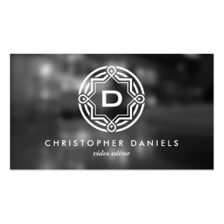 DECORATIVE CIRCLE LOGO with YOUR INITIAL Photo Double-Sided Standard Business Cards (Pack Of 100)