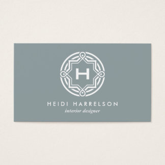 DECORATIVE CIRCLE LOGO with YOUR INITIAL Slate Business Card