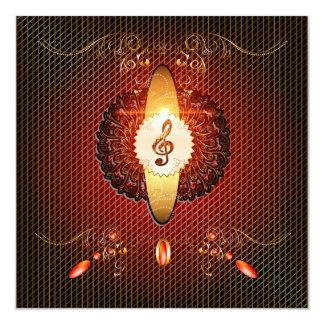 Decorative clef on elegant background 5.25x5.25 square paper invitation card