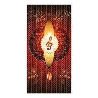 Decorative clef on elegant background photo card