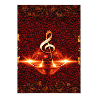 Decorative clef with awesome light effects 5x7 paper invitation card