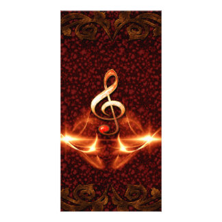 Decorative clef with awesome light effects photo card