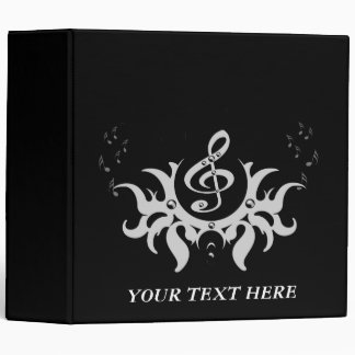 Decorative Clef with key notes Vinyl Binders