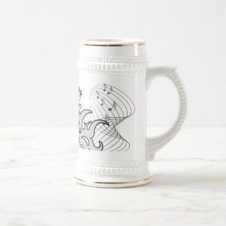 Decorative Clef with key notes 18 Oz Beer Stein