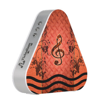 Decorative clef with roses an metal background speaker