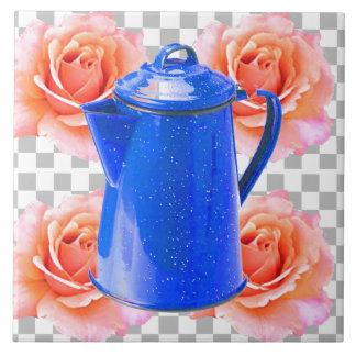 DECORATIVE COFFEE POT W. DEOCRATIVE TEA ROSES CERAMIC TILE