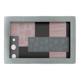 Decorative collage rectangular belt buckle