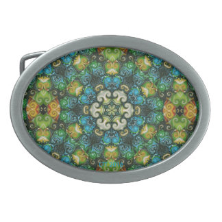 Decorative Colored Beads Rosette Belt Buckle