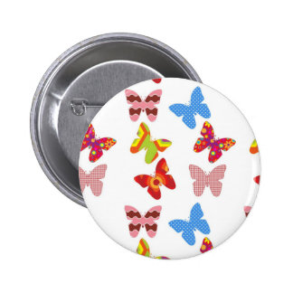 Decorative Colored Butterflies 2 Inch Round Button