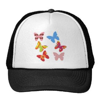 Decorative Colored Butterflies Mesh Hat