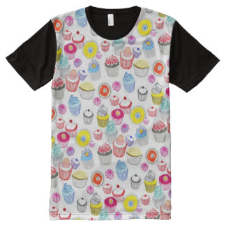 Decorative Colorful Fun Cupcakes Pattern All-Over-Print T-Shirt