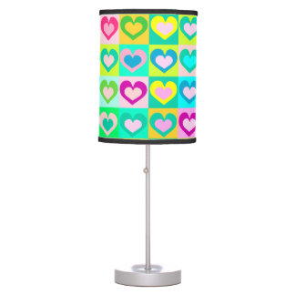 decorative colorful hearts,pop art table lamp