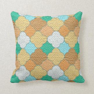 Decorative Colorful Lattice Burlap Print Throw Pillow