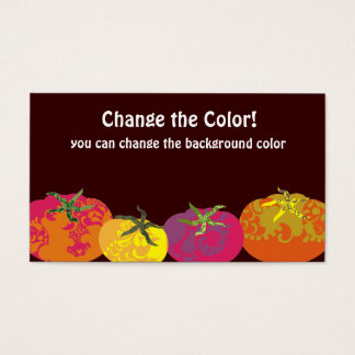 Decorative colorful tomatoes chef catering business card