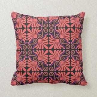 Decorative Coral & Black  Design Pillow