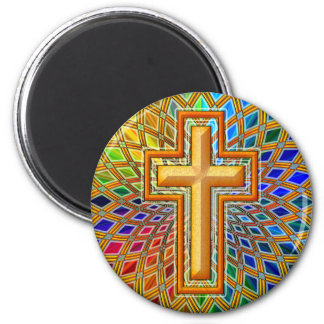 DECORATIVE CROSS 2 INCH ROUND MAGNET