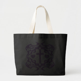Decorative Cross and Hearts Canvas Bag