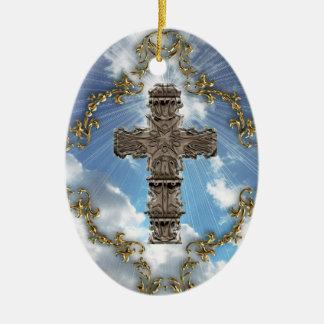Decorative Cross On Sky Ceramic Ornament