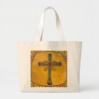 Decorative Cross Red Yellow Purple Large Tote Bag