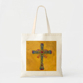 Decorative Cross Red Yellow Purple Tote Bag
