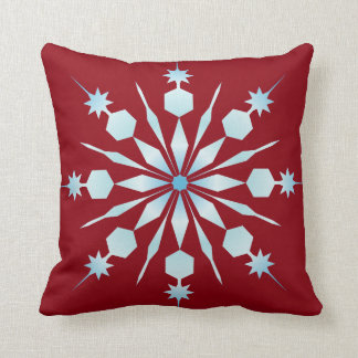 Decorative Crystal Snowflake Red Merry Christmas Throw Pillow