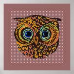 decorative cute owl bird print