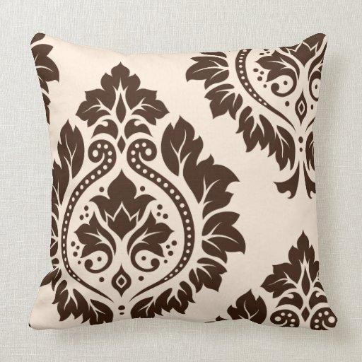 Decorative Damask Art I (2Way) Cream & Brown Throw Pillow Zazzle