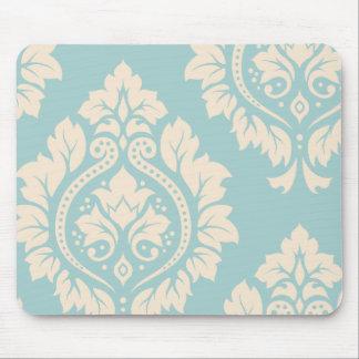 Decorative Damask Art I – Cream on Blue Mouse Pad