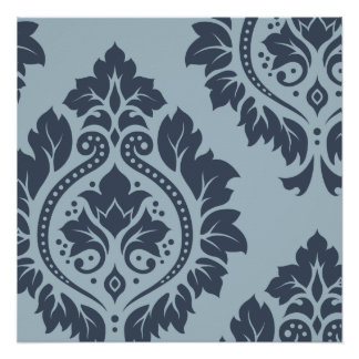 Decorative Damask Art I Dark on Light Blue-Grey Poster
