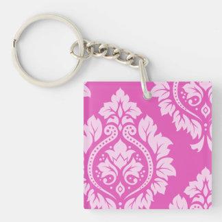 Decorative Damask Art I – Light on Dark Pink Keychain