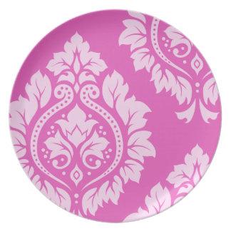 Decorative Damask Art I – Light on Dark Pink Melamine Plate