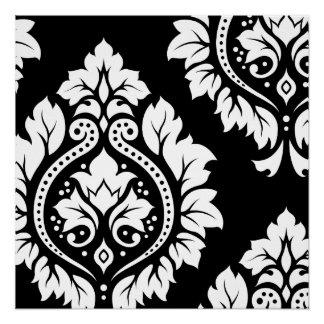 Decorative Damask Art I – White on Black Poster