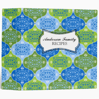Decorative Damask Blue Green Pattern 2 Inch Binder
