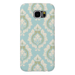 Decorative Damask Pattern – Cream & Gold on Blue Samsung Galaxy S6 Cases