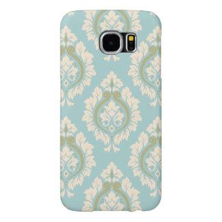 Decorative Damask Pattern – Cream & Gold on Blue Samsung Galaxy S6 Case