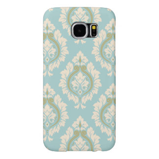 Decorative Damask Pattern – Cream & Gold on Blue Samsung Galaxy S6 Cases