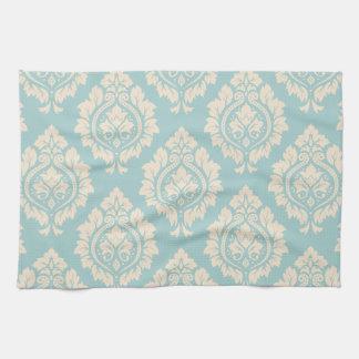 Decorative Damask Pattern – Cream on Blue Hand Towel