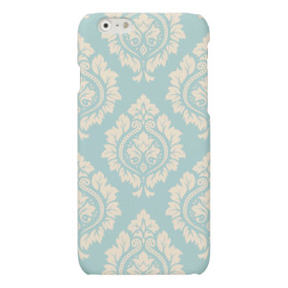 Decorative Damask Pattern – Cream on Blue Matte iPhone 6 Case