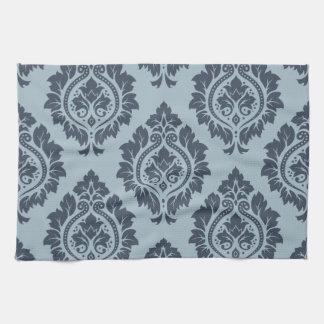 Decorative Damask Pattern Dark on Light Blue-Grey Towels