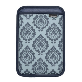 Decorative Damask Pattern Dark on Light Blue-Grey Sleeve For iPad Mini
