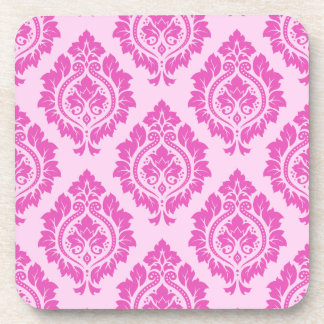 Decorative Damask Pattern – Dark on Light Pink Beverage Coaster