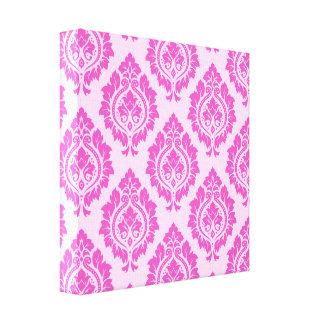 Decorative Damask Pattern – Dark on Light Pink Canvas Print